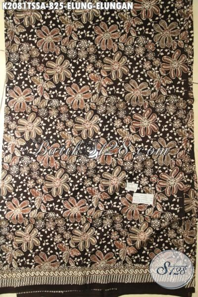 Batik Jawa Etnik Motif Klasik Elung-Elungan, Kain Batik Sutra Jawa Tengah Kwalitas Mewah Bahan Pakaian Berkelas Tampil Makin Berwibawa