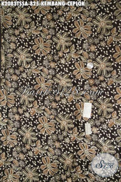 Batik Solo Motif Kembang Ceplok, Batik Bahan Baju Istimewa Trend Masa Kini, Batik Sutra Klasik Premium Harga Mahal Asli Buatan Pengerajin Kampung [K2083TSSA-240×110 cm]
