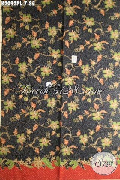 Batik Kain Buatan Solo Motif Bunga Di Jual Online, Batik Halus Proses Print Dasar Hitam Bahan Busana Elegan Dan Berkelas [K2092PL-240 x 105cm]