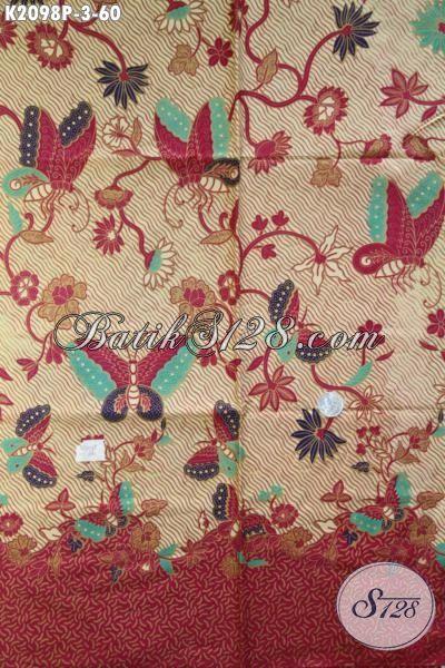 Batik Modern Motif Kupu, Batik Kain Proses Printing Dengan Warna Elegan Kwalitas Halus Bahan Pakaian Santai Dan Formal Tampil Lebih Percaya Diri