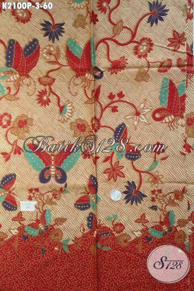 Batik Kain Motif Bunga Kupu, Batik Halus Buatan Solo Proses Printing Bahan Baju Dress Dan Blus Untuk Tampil Cantik Mempesona