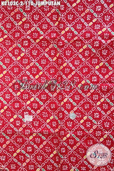 Batik Kain Trendy Motif Jumputan Khas Jawa Tengah, Batik Warna Merah Bahan Busana Wanita Pria Kwalitas Halus Harga 100 Ribuan