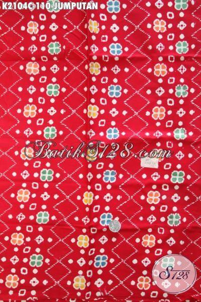 Jual Kain Batik Cap Motif Terbaru Lebih Keren Dan Modern Berpadu Warna Dasar Merah Proses Cap, Batik Solo Terkini Bahan Pakaian Santai Tampil Stylist Dan Berkelas