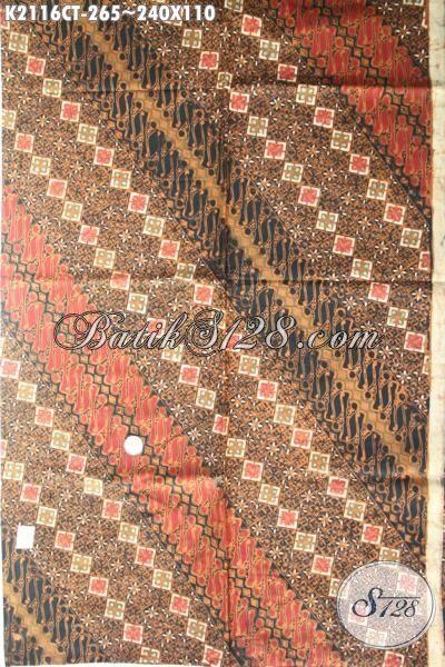 Produk Batik Kain Klasik Buatan Solo Proses Cap Tulis, Batik Elegan Motif Parang Bahan Busana Formal Tampil Makin ELegan