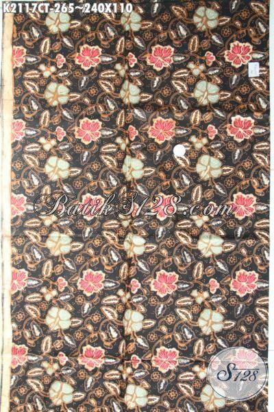 Batik Bahan Busana Wanita Karir Masa Kini, Kain Batik Cap Tulis Istimewa Dengan Motif Bunga Dan Warna Yang Berkelas Cocok Buat Blus Dan Dress