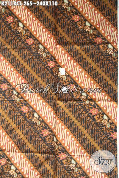 Batik Kain Modern Classic Buatan Solo Motif Parang Bunga, Batik Jawa Istimewa Halus Dan Mewah Bahan Kemeja Kerja  Trend Mode Masa Kini