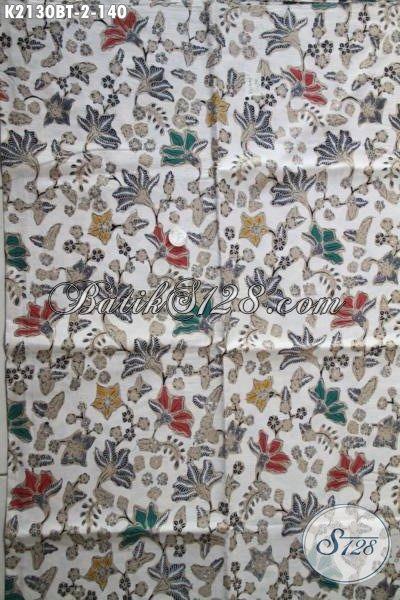 Aneka Kain Batik Kombinasi Tulis Motif Bunga warna Bagus Harag 140K Untuk Baju Wanita Karir