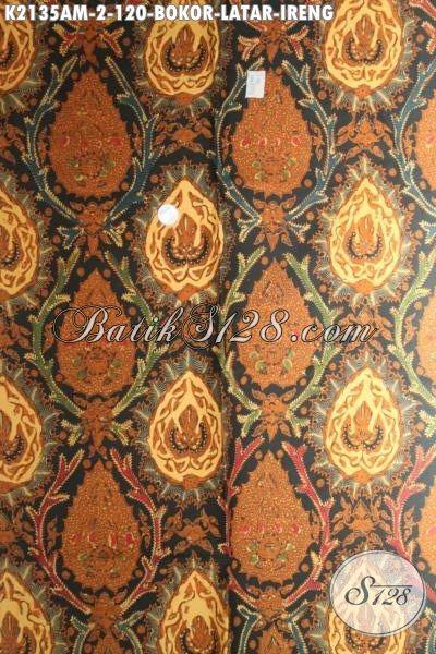 Batik Klasik Solo Motif Bokor Latar Ireng, Batik Jawa Halus Elegan Proses Kombinasi Tulis Untuk Pakaian Kondangan Dan Rapat