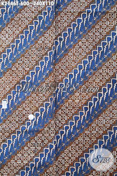 Batik Parang Terbaru Kombinasi Warna Biru Dan Coklat, Batik Klasik Proses Tulis Kwalitas Mewah Bahan Busana Istimewa Hanya 600 Ribu