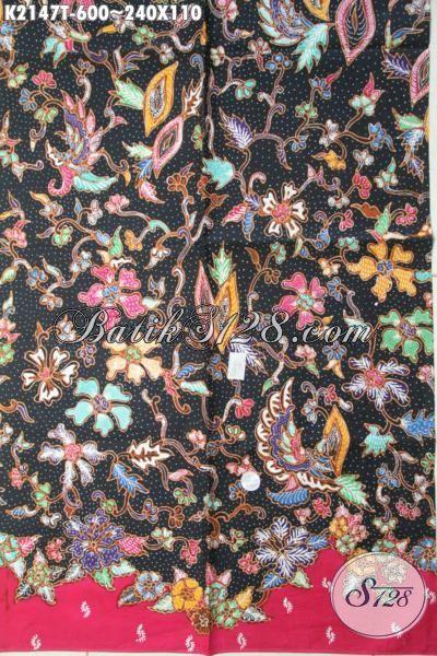 Batik Halus Dan Adem Bahan Pakaian Wanita Terbaru, Kain Batik Tulis Premium Motif Bunga Dasar Hitam Cocok Untuk Blus Dan Dress Mewah