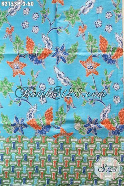 Kain Batik Biru Motif Kupu Dengan Desain Trendy Cocok Untuk Dress, Batik Bahan Blus Istimewa Proses Printing Tampil Lebih Mempesona