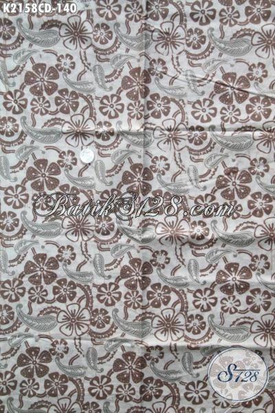 Kain Batik Motif Semanggi Dengan Warna Lembut Dan Elegan, Batik Solo Kwalitas Premium Proses Cap Bledak Modis Untuk Pakaian Santai