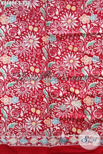 Kain Batik Cap Warna Merah Bahan Blus Trendy Dengan Motif Bunga-Bunga Yang Bikin Penampilan Perempuan Lebih Feminim