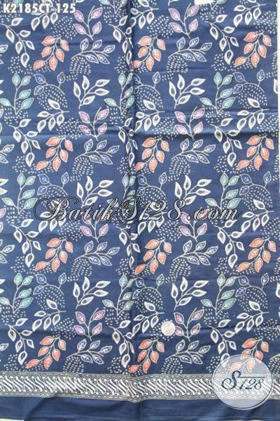 Batik Kain Warna Biru Berpadu Motif Modern Nan Trendy, Cocok Untuk Bahan Pakaian Dress Dan Blus Kerja Wanita Karir, Proses Cap Tulis [K2185CT-200x110cm]