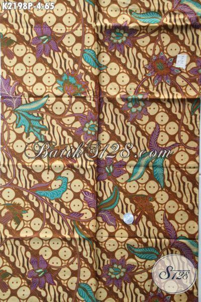 Kain Batik Jawa Tengah Motif Klasik Parang Bunga, Batik Bahan Busana Formal Kwalitas Bagus Harga Murah Proses Printing