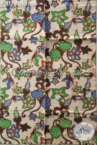 Jual Kain Batik Motif Bunga Proses Printing, Baju Batik Jawa Etnik Bahan Pakaian Trendy Untuk Santai Dan Jalan-Jalan