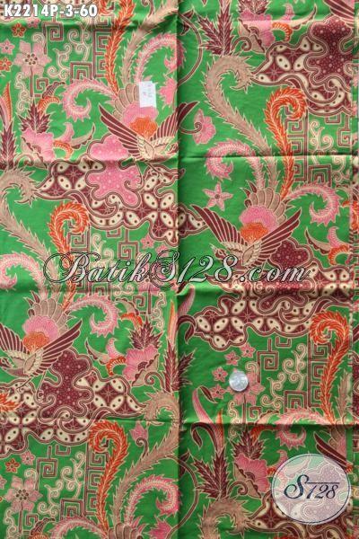 Kain Batik Printing Warna Hijau Hadir Dengan Desain Motif Mewah Dan Berkelas, Cocok Untuk Baju Blus Dan Dress Wanita Kantoran