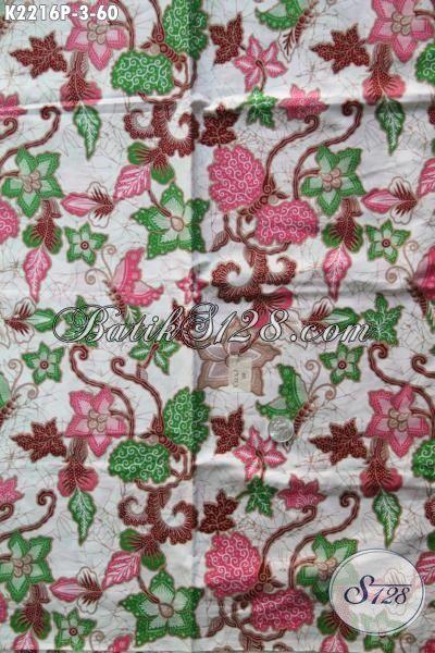 Sedia Kain Batik Terbaru Buatan Solo, Batik Printing Motif Bunga Modis Untuk Busana Blus Wanita Karir Tampil Anggun Dan Cantik Maksimal [K2216P-200 x 110cm]