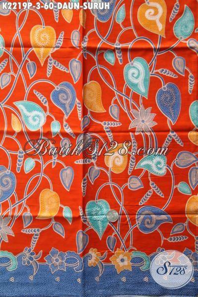 Batik Jawa Tengah Terbaru Motif Daun Sirih Dengan Warna Dasar Orange Kwalitas Bagus Harga Terjangkau, Batik Printing Solo Istimewa Untuk Pakaian Pria Dan Wanita Tampil Lebih Berkelas