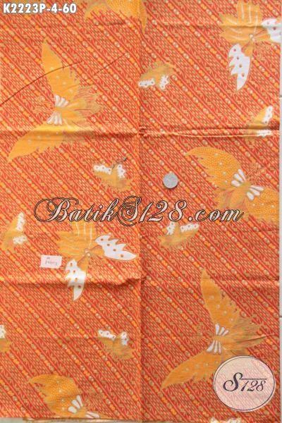 Kain Batik Orange Motif Kupu Bahan Busana Blus Dan Dress, Batik Printing Modern Kwalitas Bagus Harga Murmer Kesukaan Para Pegawai