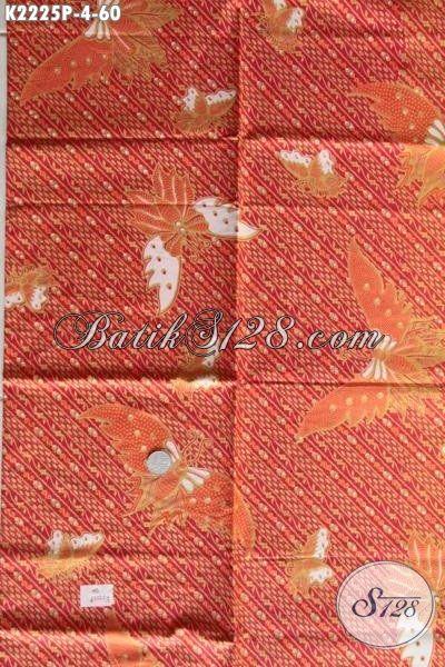 Jual Kain Batik Merah Halus Motif Kupu Bahan Kemeja Berkelas, Batik Solo Printing Adem Nyaman Di Pakai Hanya 60K
