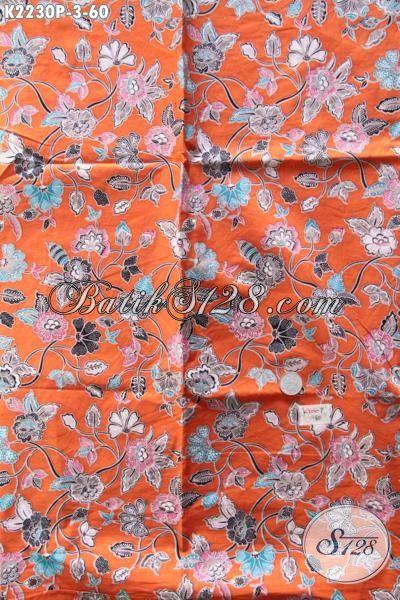 Batik Kain Orange Motif Bunga Kwalitas Halus Bahan Dress Wanita Muda, Batik Printing 60K Di Jual Online