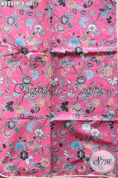 Jual Online Eceran Harga Grosir Produk Kain Batik Printing Halus Kwalitas Istimewa, Batik Motif Bunga Dasar Pink Cewek Banget