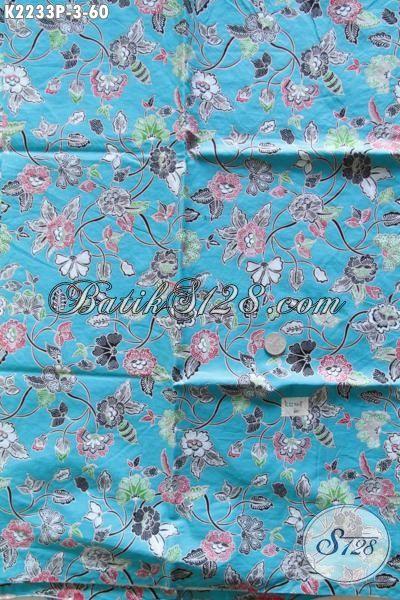 Produk Kain Batik Biru Muda Dengan Motif Bunga Nan Trendy, Batik Print Bahan Busana Wanita Karir Untuk Seragam Kerja Dan Busana Pesta Harga Murmer