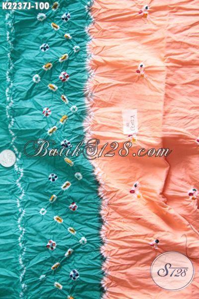 Kain Batik Jumputan Kombinasi Warna Hijau Orange Dengan Motif Unik, Batik Halus Kwalitas Istimewa Bahan Pakaian Wanita Tampil Lebih Trendy