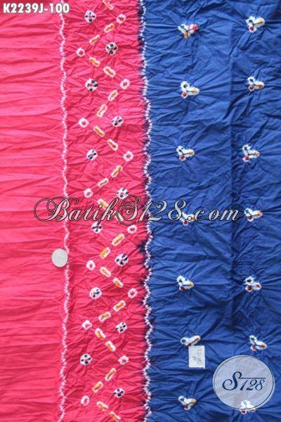 Batik Modern Warna Biru Kombinasi Pink, Batik Jumputan Kwalitas Halus Bahan Pakaian Wanita Muda Dan Dewasa Penunjang Penampilan Lebih Gaya [K2239J-200 x 110cm ]