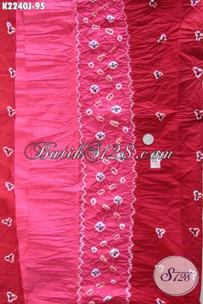 Batik Kain Bagus Halus Kwalitas Istimewa Buatan Solo Bahan Busana Perempuan, Batik Jumputan Bahan Pakaian Trendy Harga 95K [K2240J-200 x 110cm]