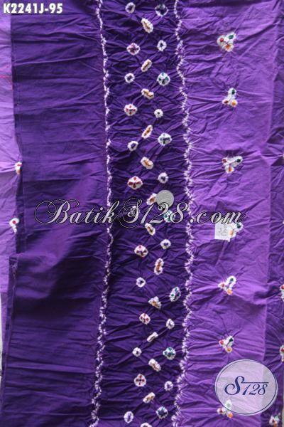Batik Jumputan Warna Ungu Bahan Pakaian Wanita Dewasa Dengan Motif Simple Nan Unik, Bikin Penampilan Lebih Modis [K2241J-200 x 110cm]