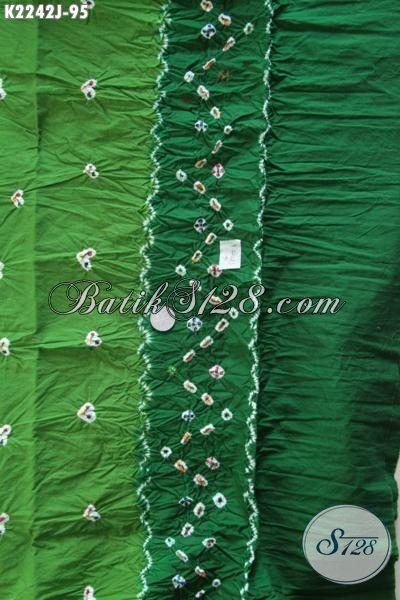 Agen Batik Solo Online, Sedia Kain Batik Jumputan Kombinasi Warna Hijau Muda Dan Tua Kwalitas Bagus Modis Untuk Dress Maupun Blus [K2242J-200 x 110cm]