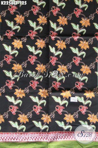 Kain Batik Cap ulis Motif Bunga Dasar Hitam, Produk Batik Solo Modern Bahan Pakaian Santai Cewek Untuk Penampilan Lebih Mempesona