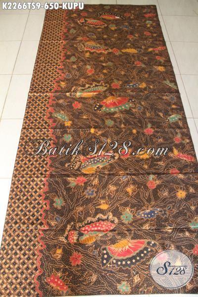 Kain Batik Premium Motif Kupu-Kupu Kwalitas Mewah Proses Tulis Soga, Batik Bahan Pakaian Istimewa Untuk Busana Formal Tampil Lebih Mewah