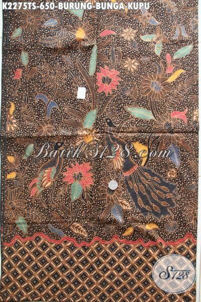 Kain Batik Tulis Soga Motif Burung Bunga Kupu Bahan Pakaian Mewah Dan Berkelas, Batik Halus Buatan Jawa Tengah Kwalitas Terjamin