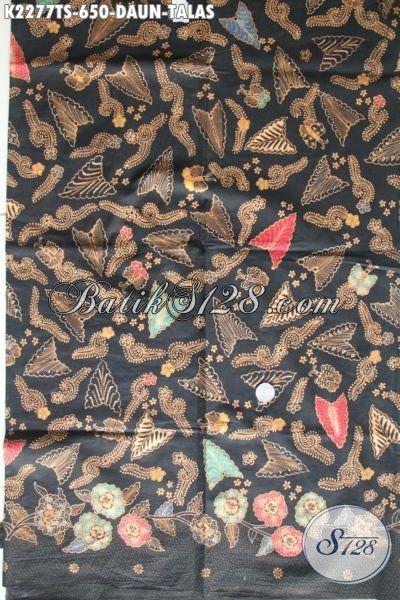 Batik Modern Klasik Elegan Untuk Busana Kerja Dan Pesta Motif Daun Talas, Batik Tulis Soga Istimewa Buatan Solo Untuk Penampilan Makin Mewah [K2277TS-240×105 cm]