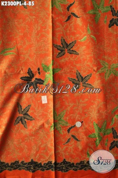 Kain Batik Modis Dan Istimewa Buatan Solo, Batik Jawa Etnik Motif Trendy Warna Orange Proses Print Lasem Harga Di Bawa 100 Ribu