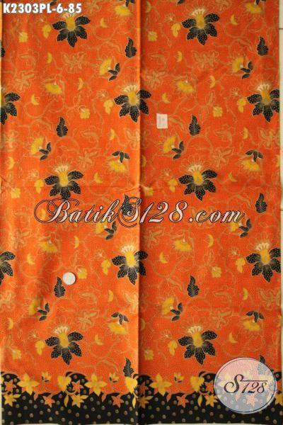 Batik Kain Halus Kwalitas Bagus Modis Motif Bunga, Batik Orange Bahan Dress Cantik Wanita Muda, Batik Kain Istimewa Bahan Blus Buat Kerja Tampil Lebih Gaya