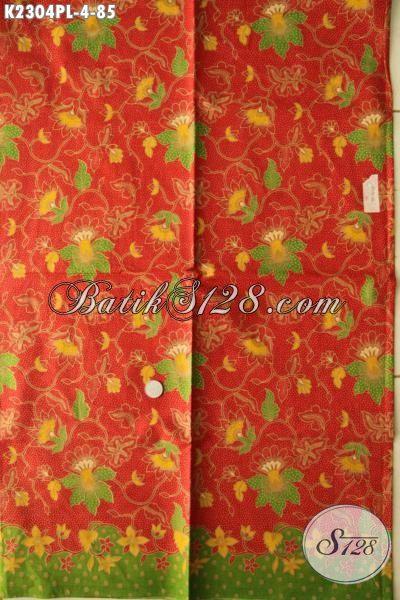 Batik Halus Motif Bunga Warna Merah, Batik Print Lasem Kwalitas Istimewa Bahan Baju Santai Dan Formal Penunjang Penampilan Lebih Berkelas