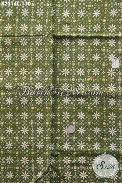 Kain Batik Warna Hijau Desain Motif Unik Dan Menarik Cocok Buat Busana Santai, Batik Cap Dari Solo Di Jual Online Harga Grosir 100 Ribuan Saja [K2314C-200x110cm]