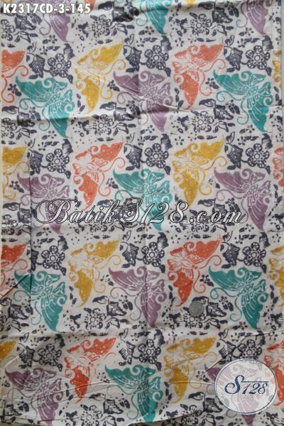 Batik Cap Bledak Dari Solo Hadir Dengan Motif Kupu-Kupu Berpadu Kombinasi Warna Trendy Cocok Banget Untuk Dress Santai Wanita Muda Dan Remaja Putri [K2317CD-200x110cm]