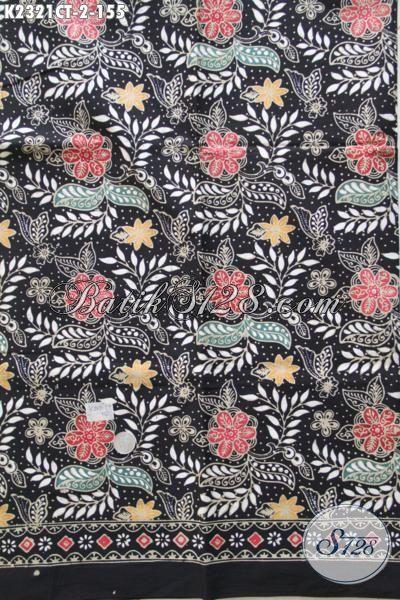 Batik Halus Motif Bunga Dasar Hitam, Kain Bati Istimewa Proses Cap Tulis Sangat Modis Untuk Baju Atasan Wanita Untuk Seragam Kerja [K2321CT-200x110cm]