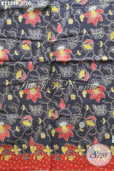 Sedia Produk Kain Batik Kwalitas Bagus Motif Bunga, Batik Warna Hitam Proses Print Halus Khas Jawa Tengah Harga 70 Ribu
