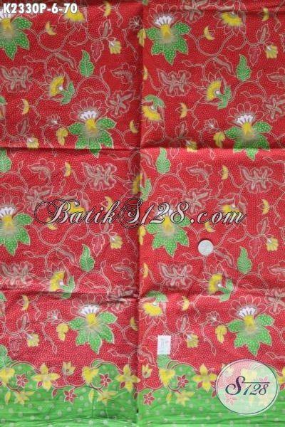 Jual Online Kain Batik Printing Merah Bahan Blus Motif Bunga, Kain Batik Modern Kwalitas Istimewa Trend Mode Masa Kini Harga Di Bawah 100 Ribuan