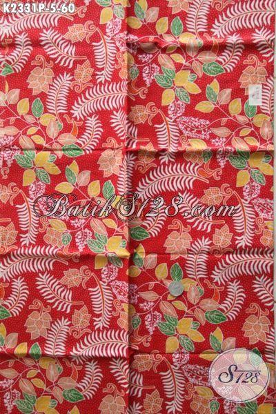 Batik Printing Modern Warna Merah Dengan Motif Unik Nan Trendy, Cocok Buat Baju Pesta [K2331P-200x110cm]