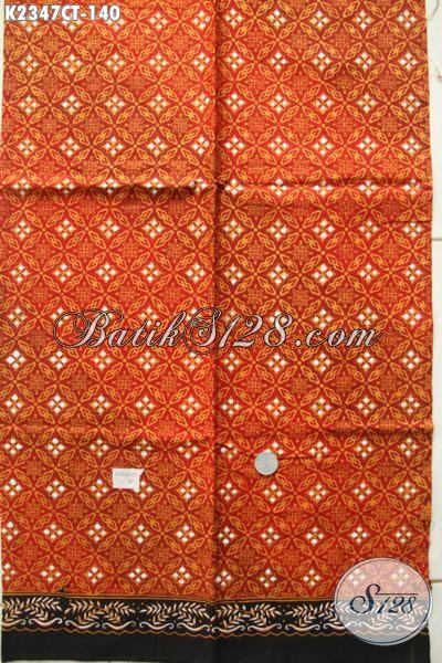 Batik Orange Motif Unik Proses Cap Tulis, Kain Batik Solo Bahan Baju Pria Lengan Pendek Bikin Penampilan Lebih Tampan Maksimal