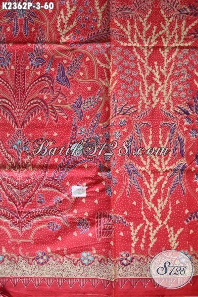 Kain Batik Merah Bahan Blus Motif Unik, Batik Printing Khas Jawa Tengah Trend Motif 2016 Menunjang Penampilan Cewek Makin Keren