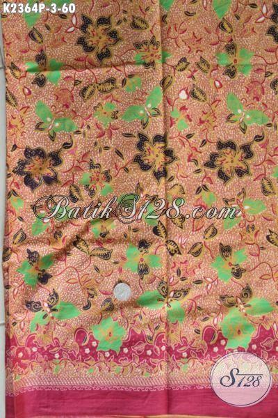 Toko Online Aneka Produk Batik Khas Jawa Tengah Terlengkap, Sedia Kain Batik Modis Motif Bunga Dan Kupu Proses Printing Bahan Pakaian Wanita Muda Tampil Lebih Gaya Harga 60K [K2364P-200x110cm]