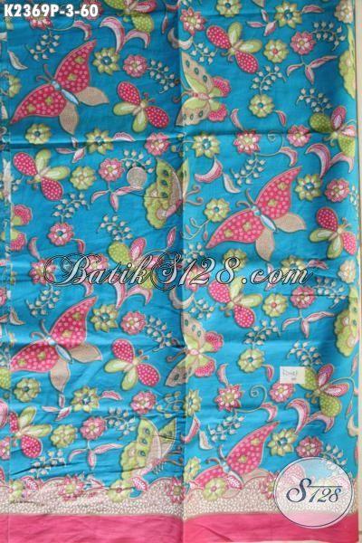 Batik Halus Motif Keren Dasar Biru Proses Printing, Modis Untuk Baju Santai Buat Cewek Harga 60 Ribu Saja